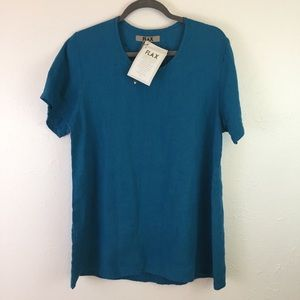 """Flax S Small Linen Top Blue """"Sweeping Tee"""" NWT"""